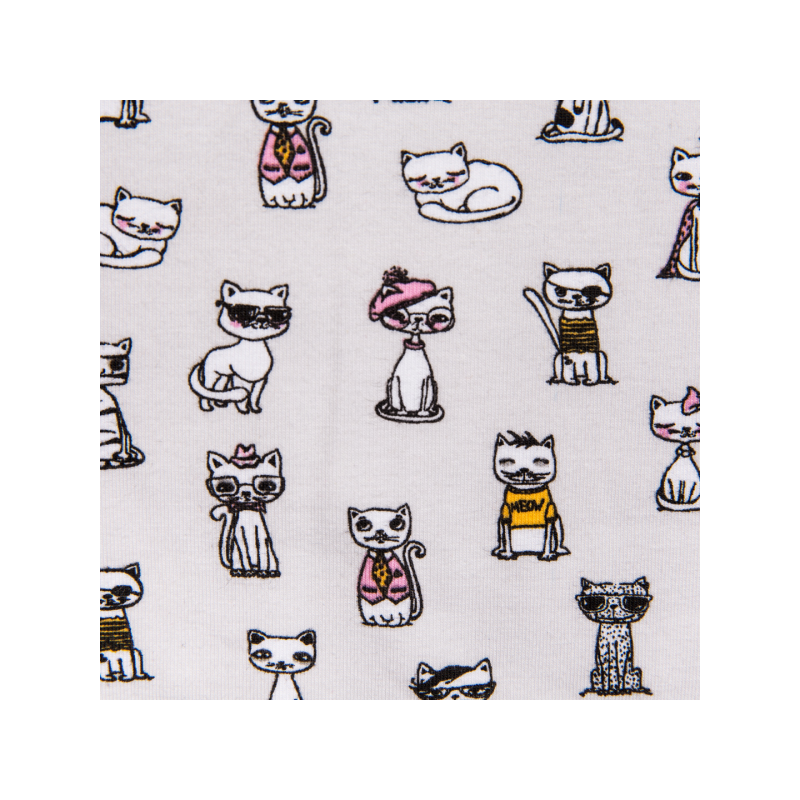 Cotton jersey printed meow meow multicolored