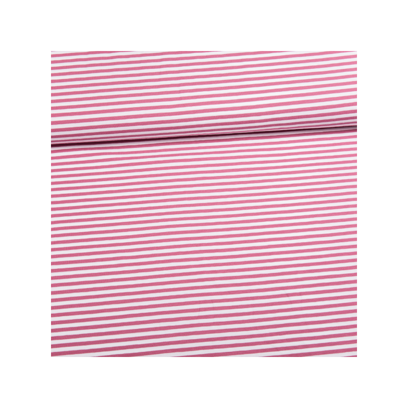 Cotton jersey printed tiny lines pink