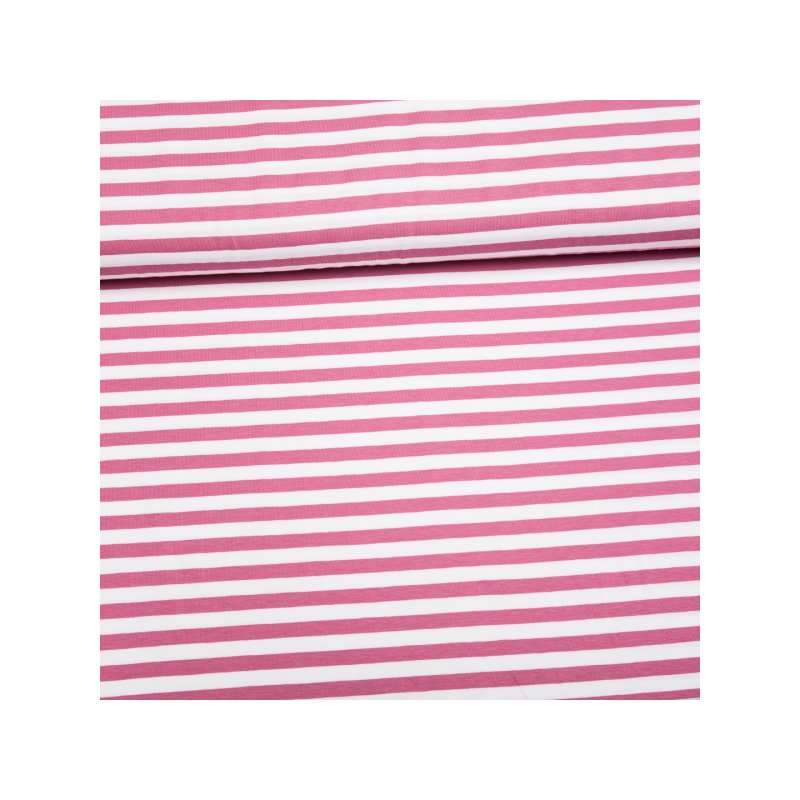 Cotton jersey printed wide lines pink
