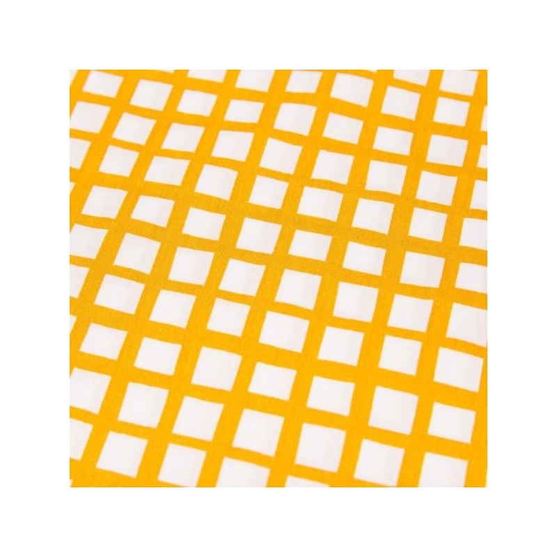 Cotton poplin printed yellow grid multicolored