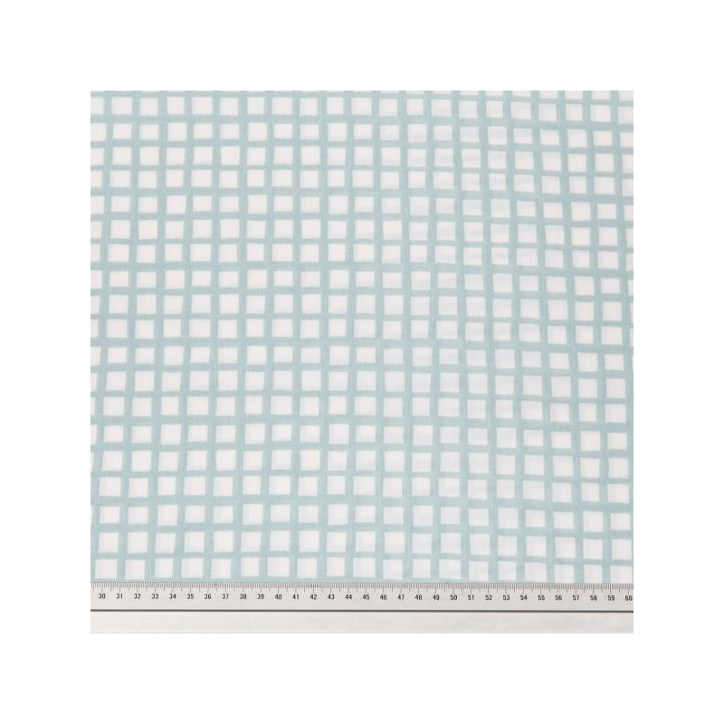 Cotton poplin printed mint grid multicolored