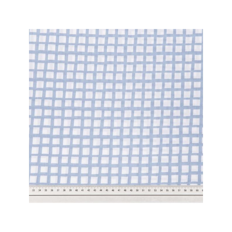 Cotton poplin printed blue grid multicolored