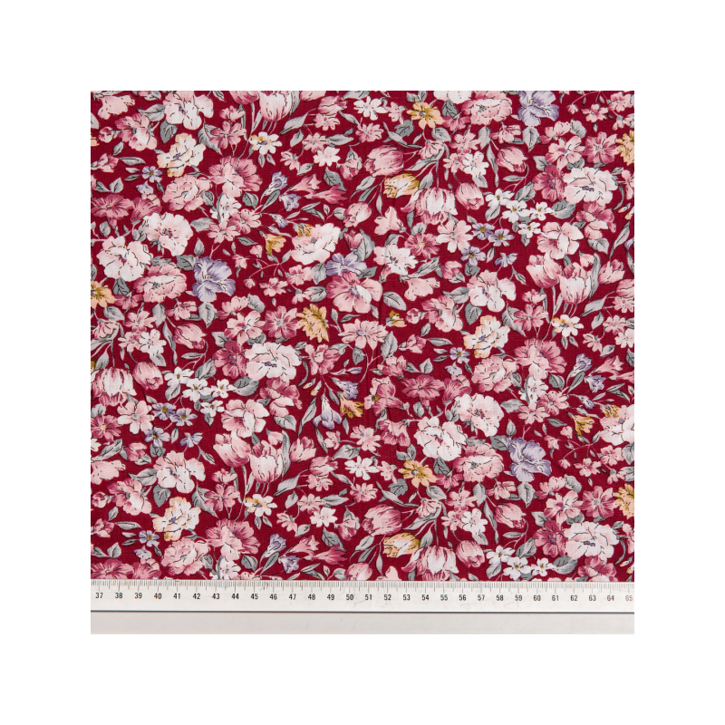 Cotton poplin printed flowery red multicolored