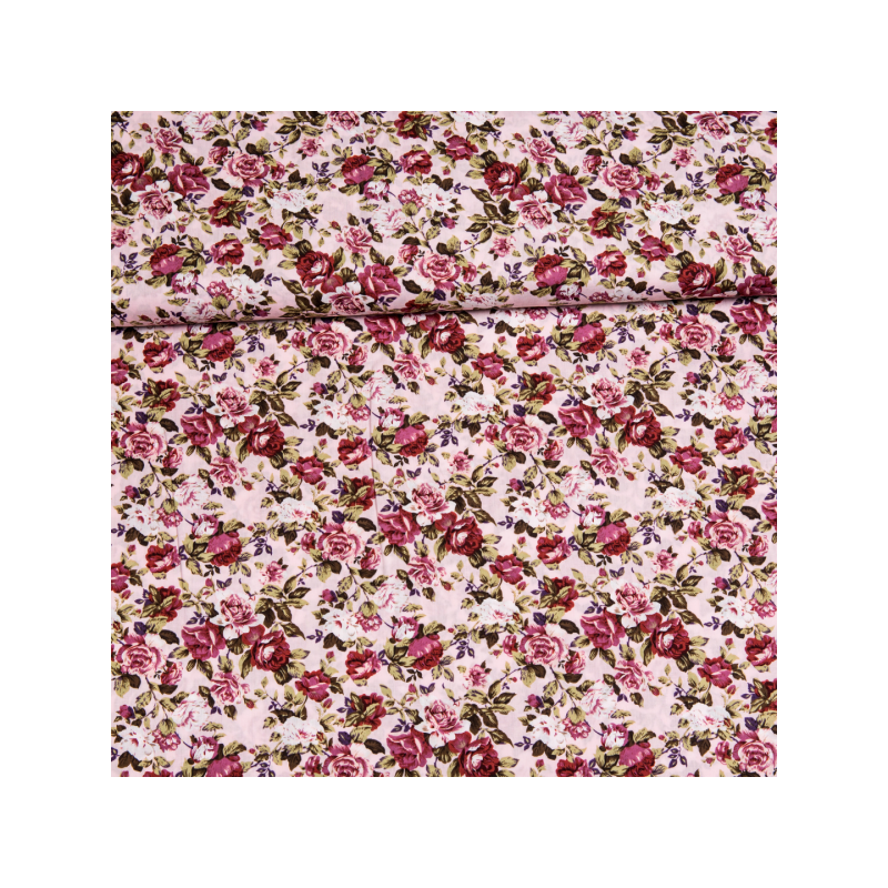 Cotton poplin printed romantic rose pattern light pink multicolored