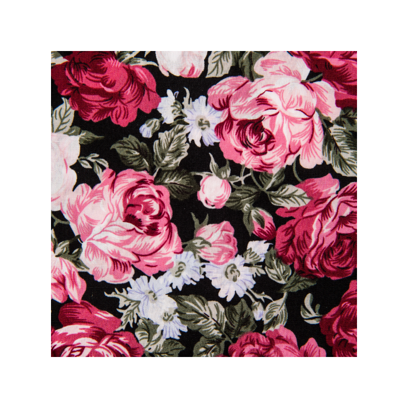 Cotton poplin printed roses dusty pink/black