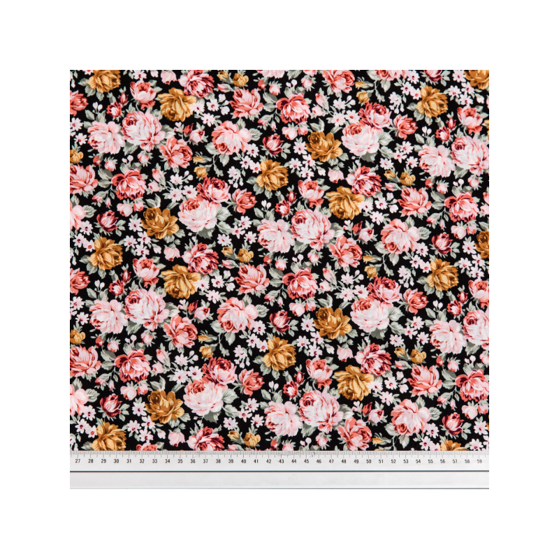 Cotton poplin printed roses in the dark multicolored