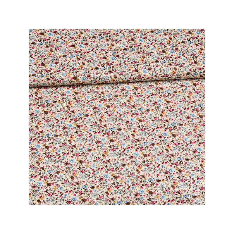 Cotton poplin printed little flowers mix multicolored