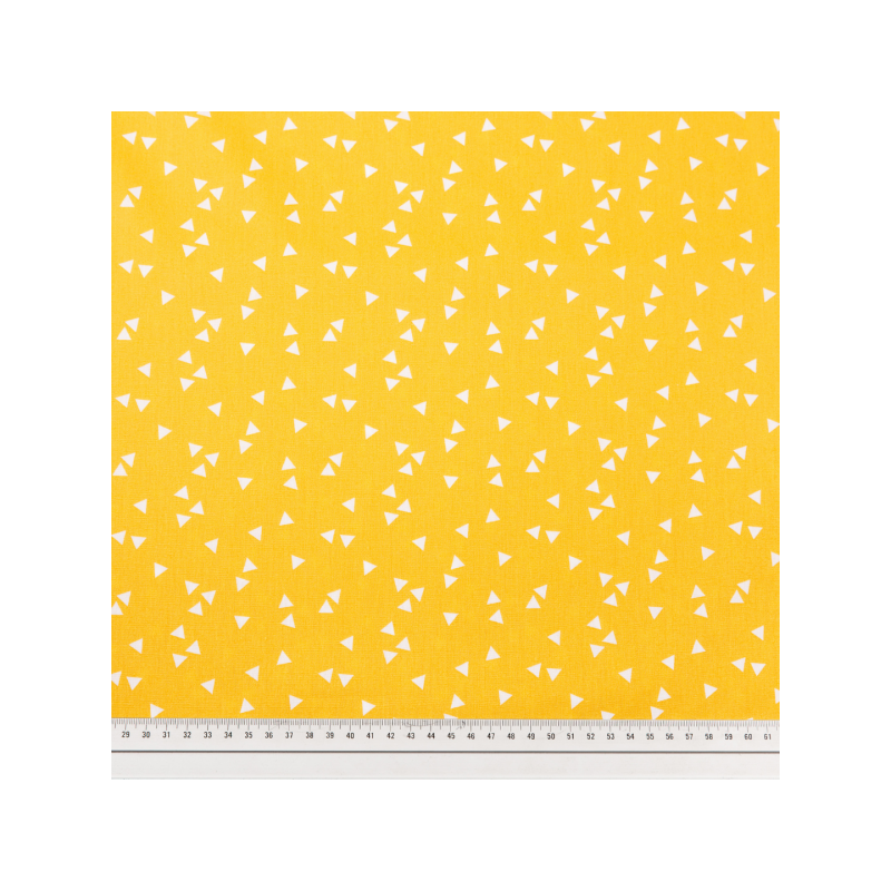 Cotton poplin printed triangle rain yellow