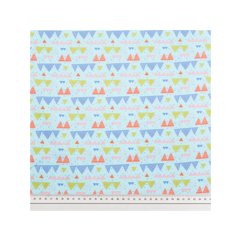 Cotton poplin printed tiny mountains multicolored