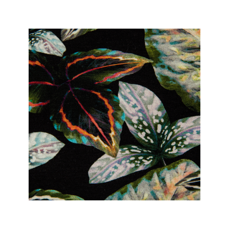 Viscose jersey digital printed black/green leaves multicolored