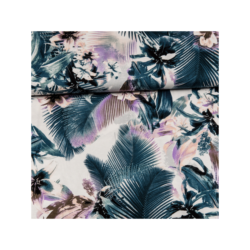 Viscose jersey printed tropical flowers multicolored