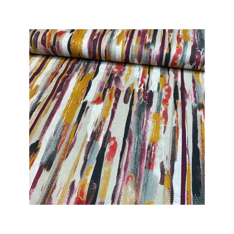 Cotton canvas digital printed pastel painted lines multicolored