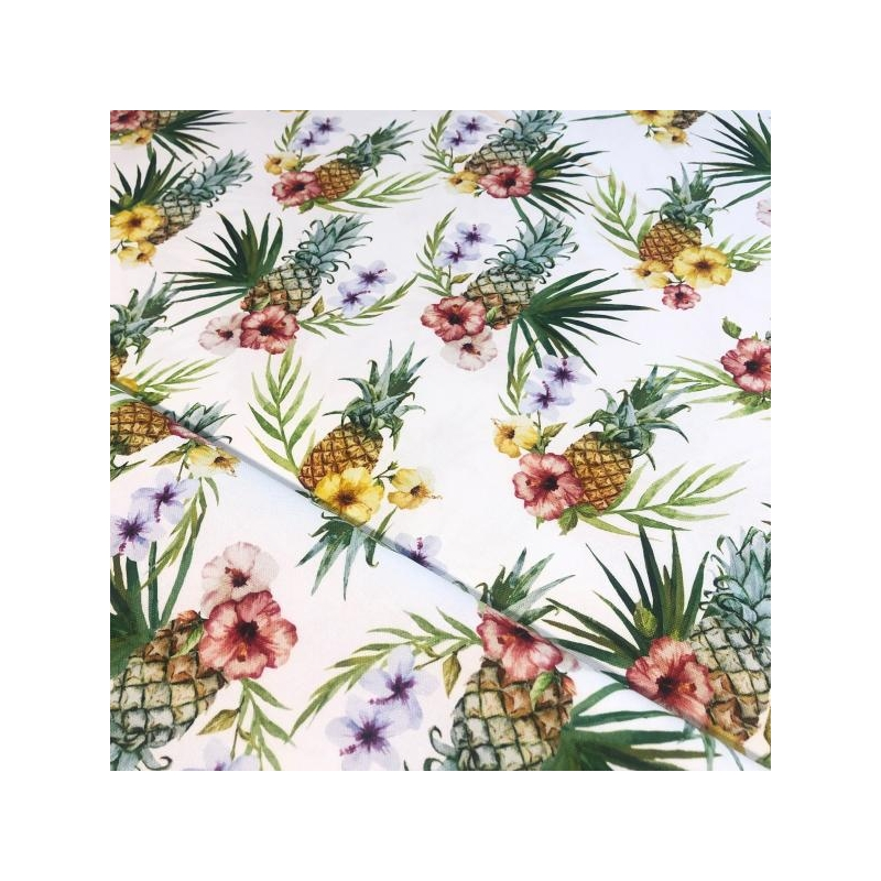 Cotton canvas printed exotic fruits multicolored