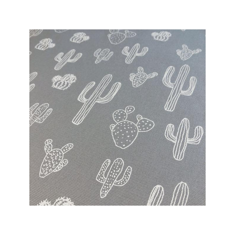Cotton canvas printed cactus light grey