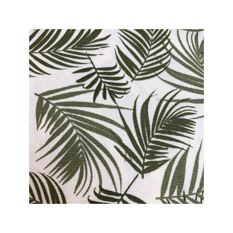 Cotton canvas printed green palm leaves multicolored