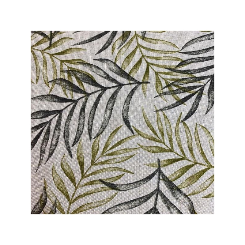 Cotton canvas printed green leaves multicolored