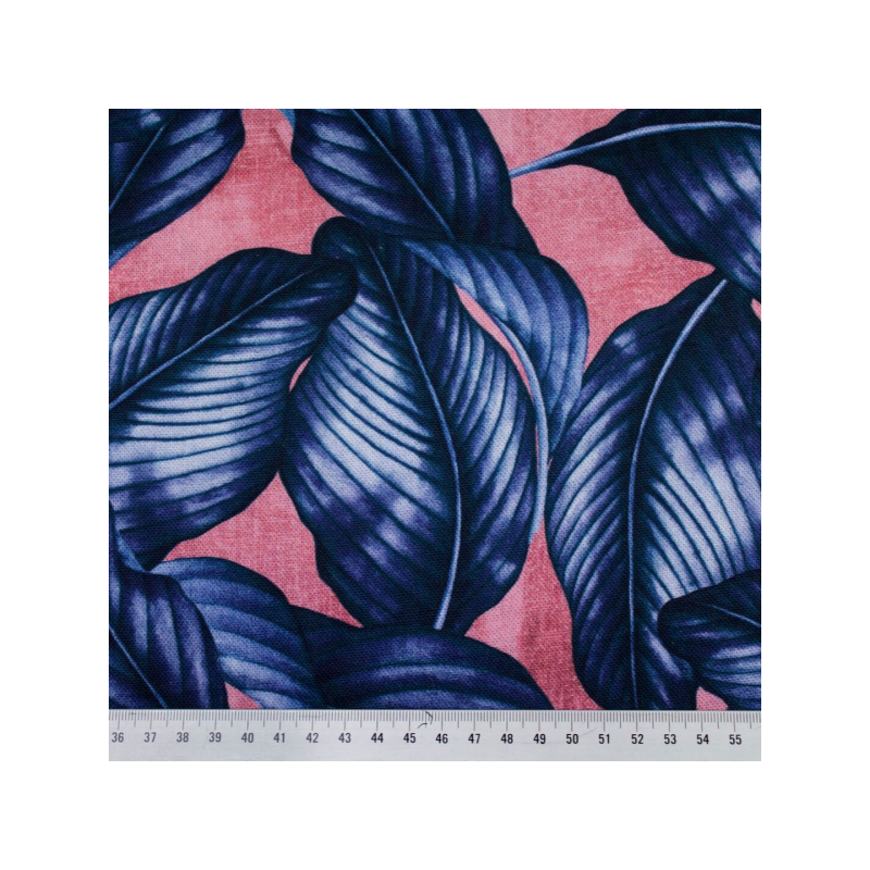 Canvas printed blue and pink leaves multicolored