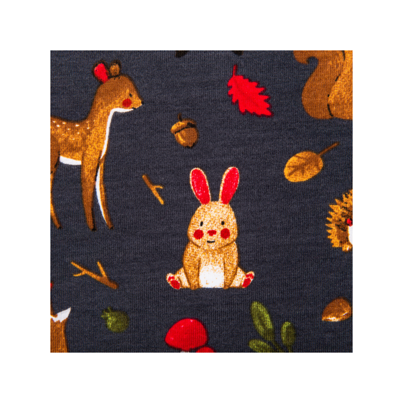 Cotton jersey printed autumn forest multicolored
