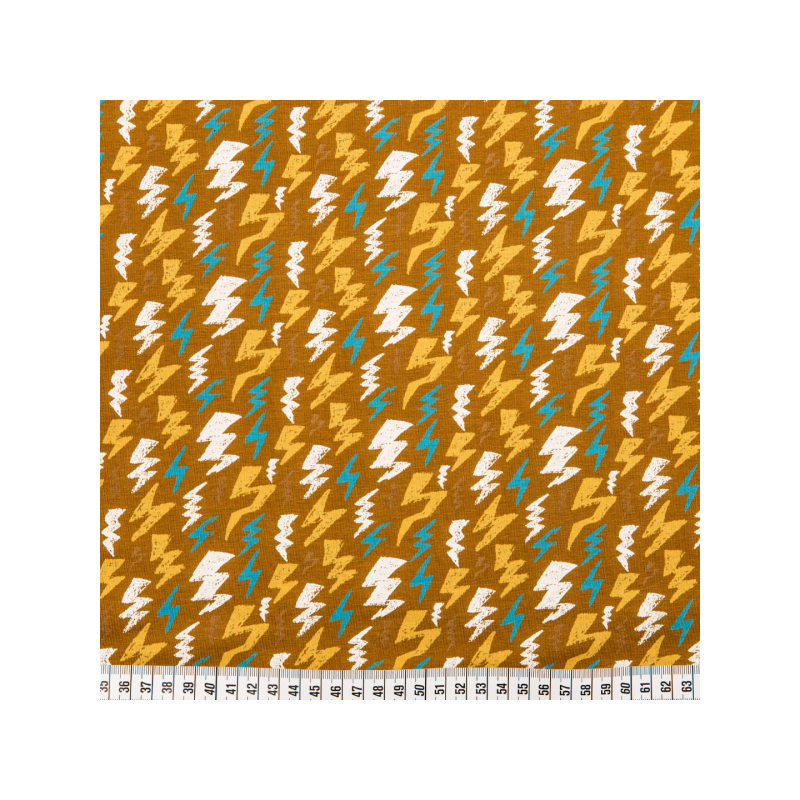Cotton jersey printed thunderstruck beige multicolored