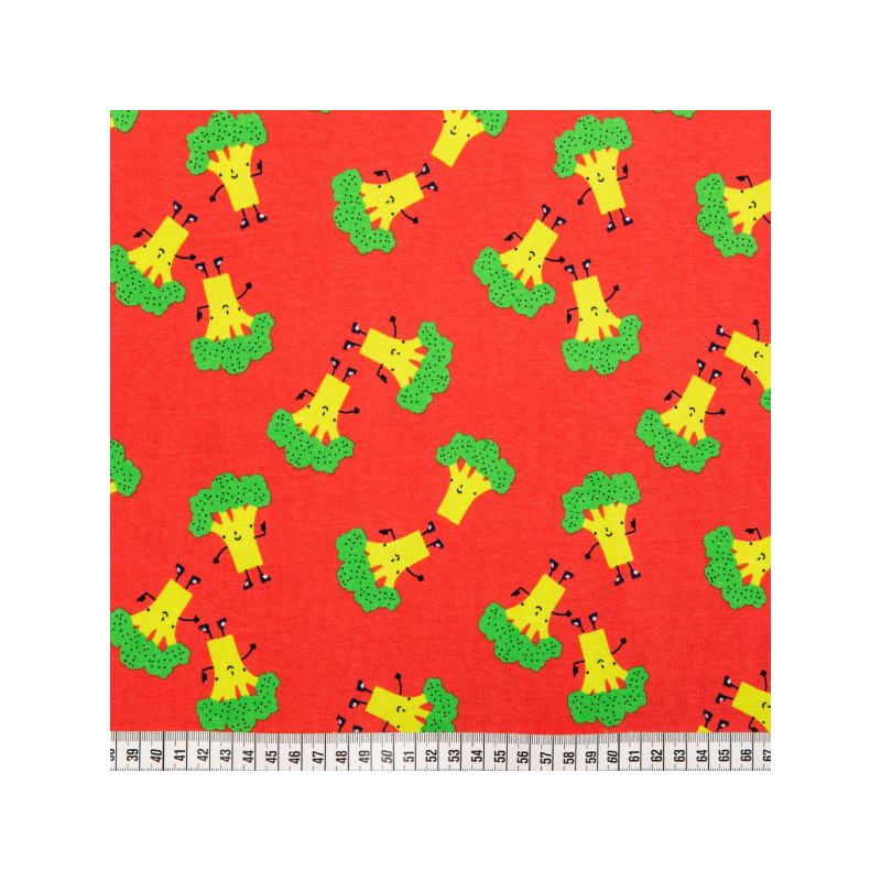 Cotton jersey printed broccol coral