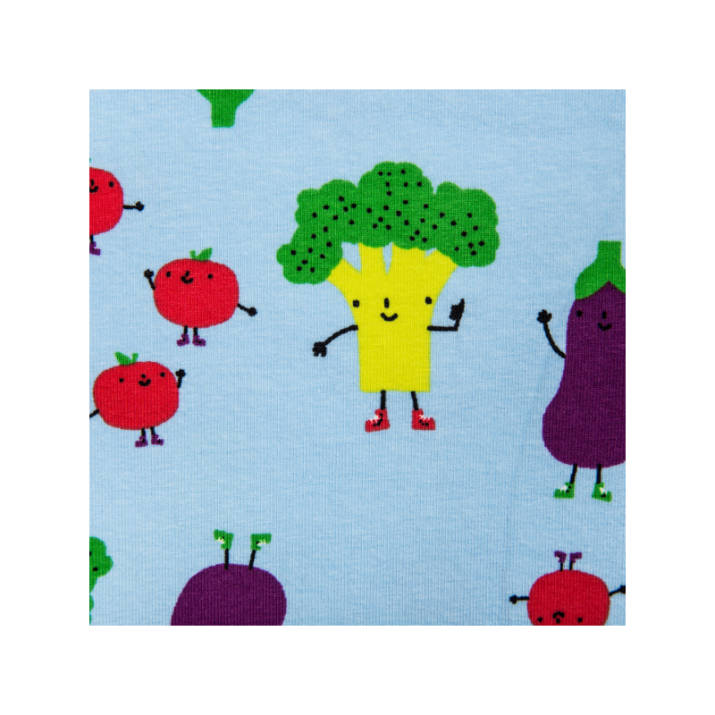 Cotton jersey printed smiling vegetables blue