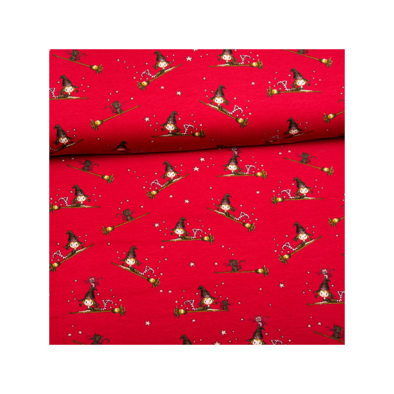 Cotton jogging fleece printed little witch red