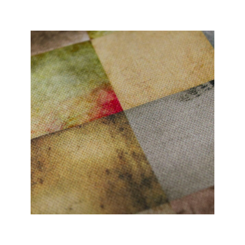 Cotton canvas printed squares multicolored