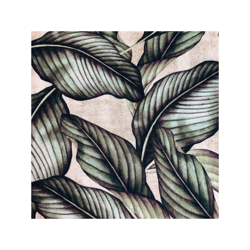Cotton canvas printed deco leaves beige/green