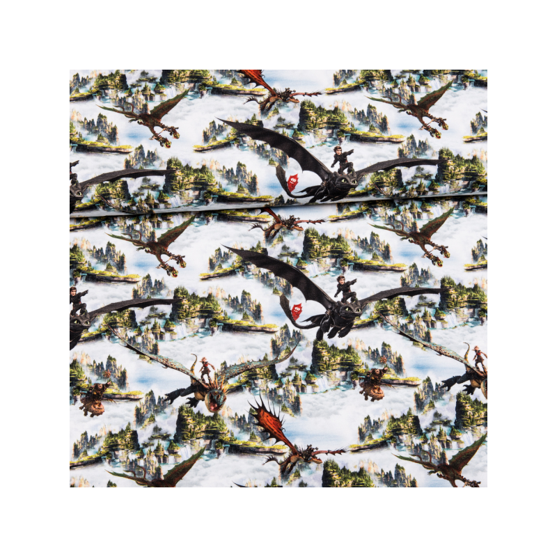 Cotton jersey digital printed dragons in the mountains multicolored