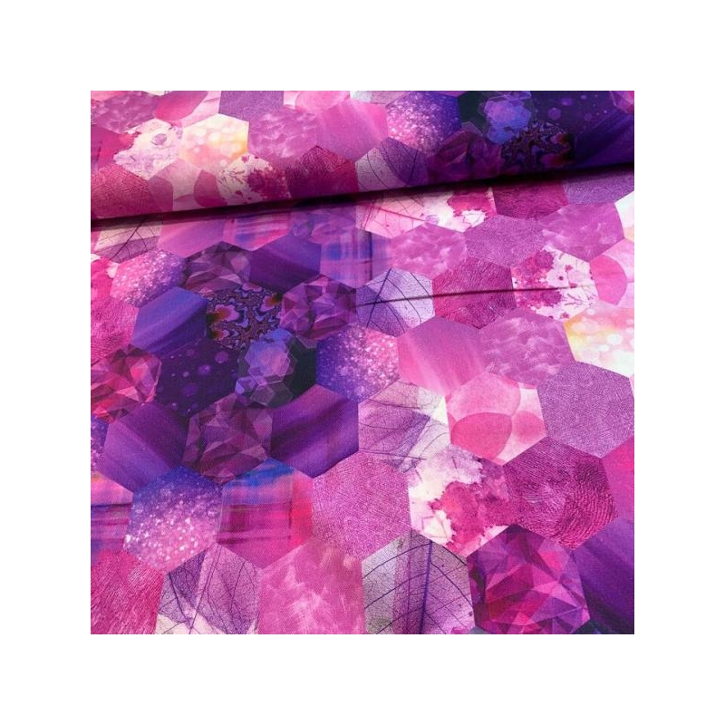 Cotton canvas printed honey bee violet