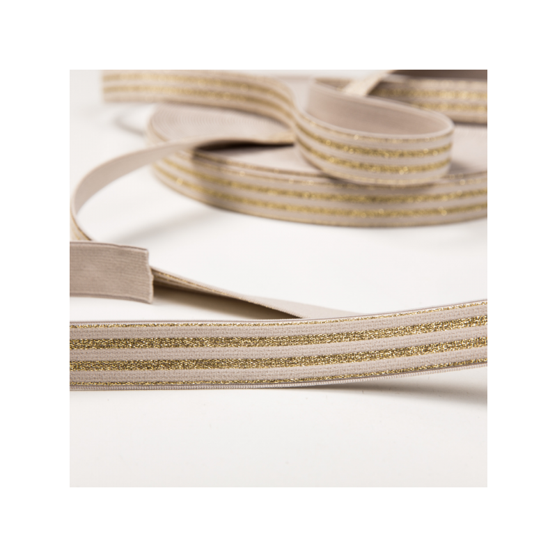 Soft touch elastic beige golden stripes