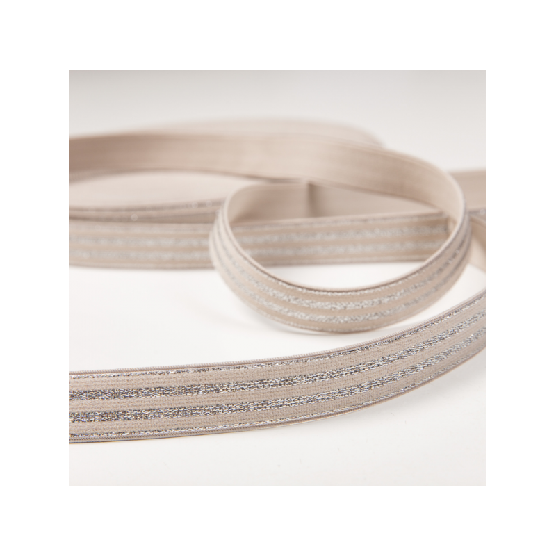 Soft touch elastic beige silver stripes