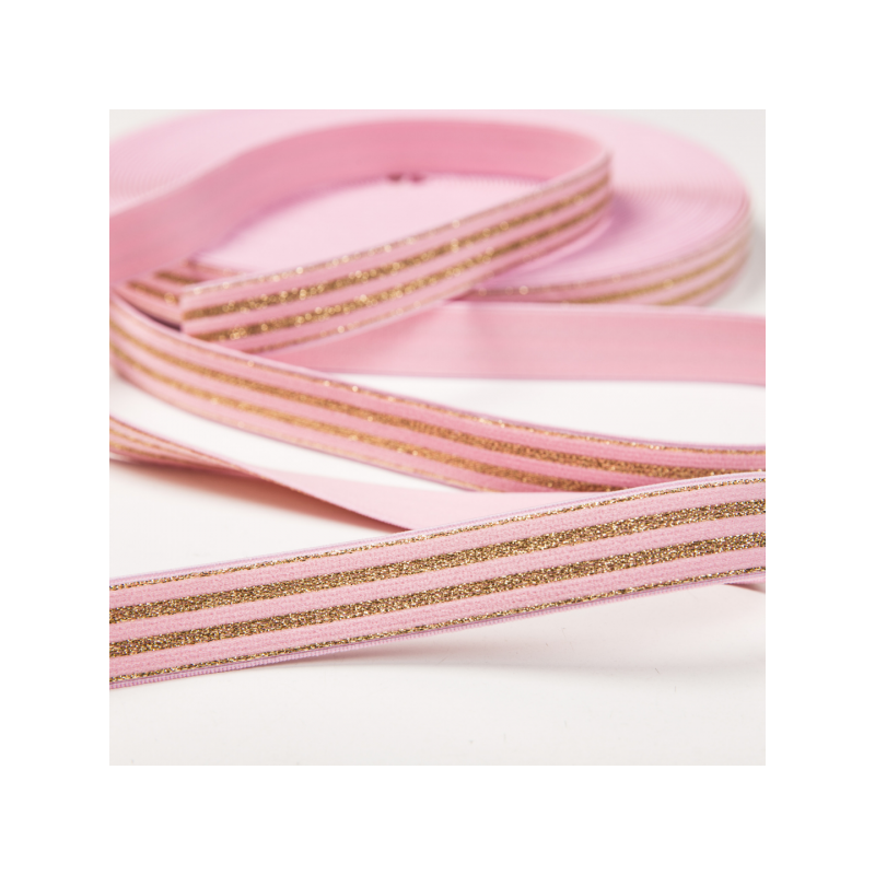 Elastic light pink golden stripes