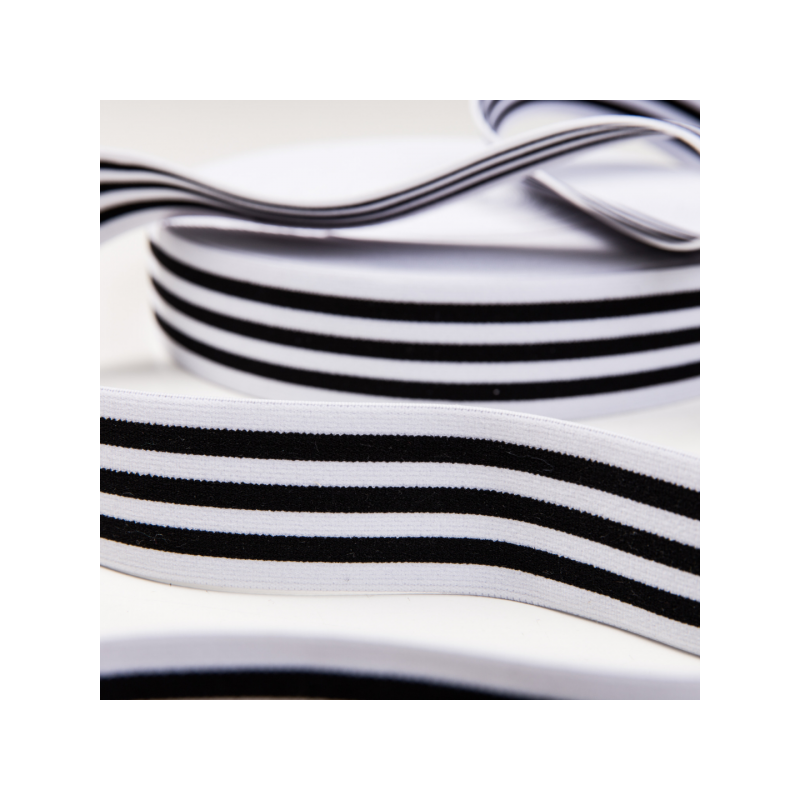 Soft touch elastic white black stripes