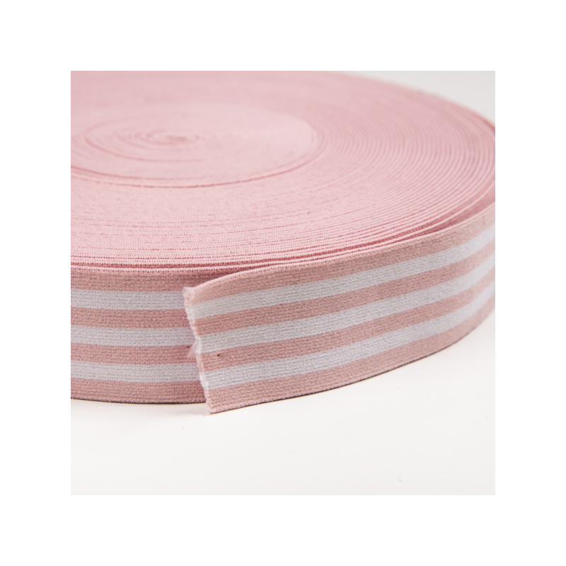 Soft touch elastic light pink white stripes