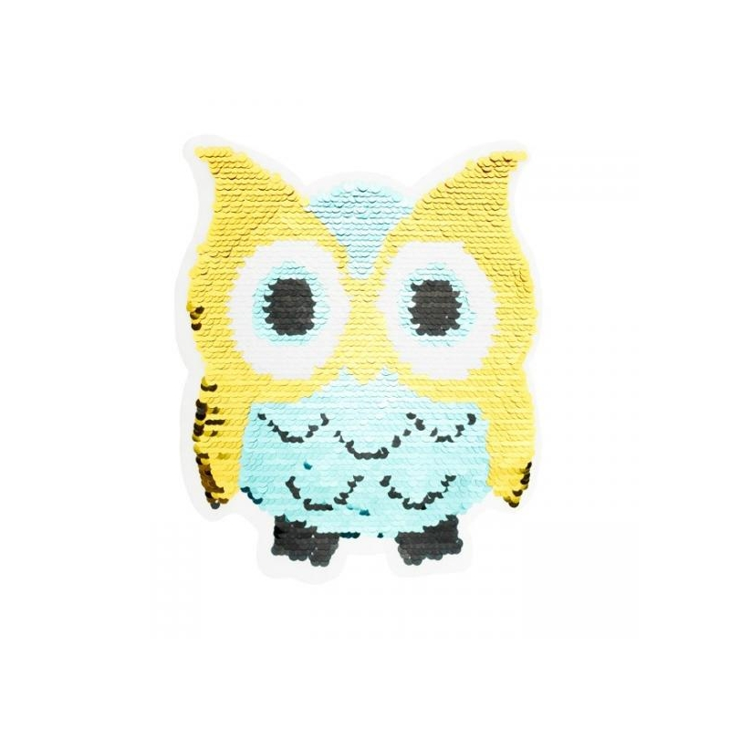 Reversible sequin patch sew on owl multicolored