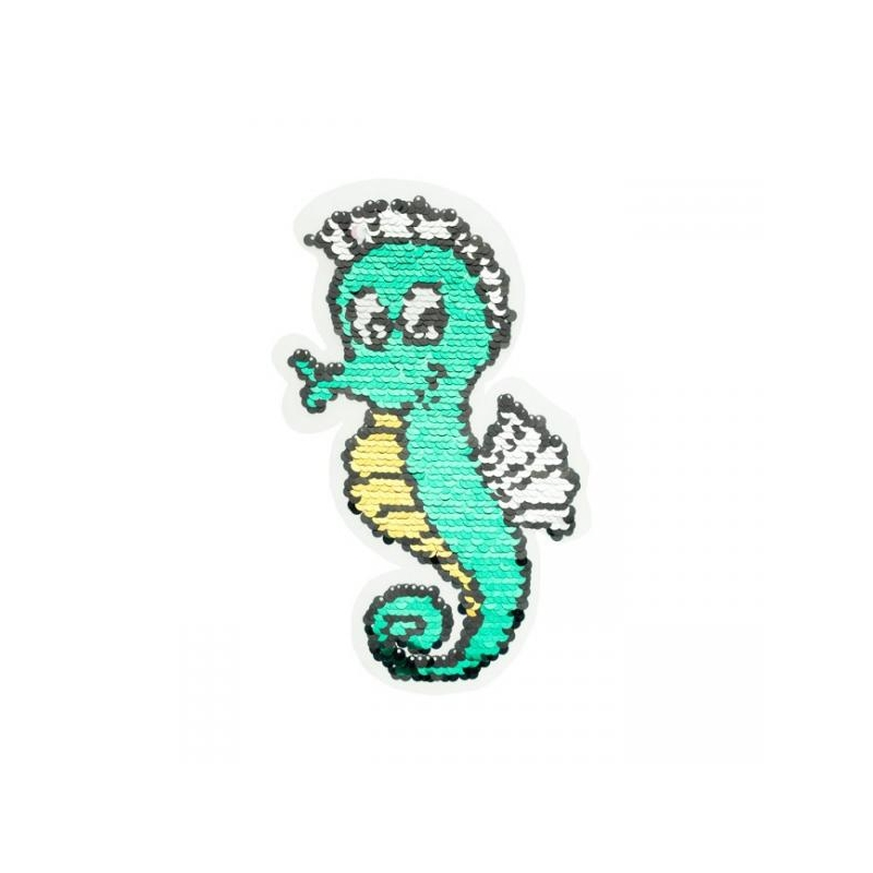 Reversible sequin patch sew on seahorse multicolored