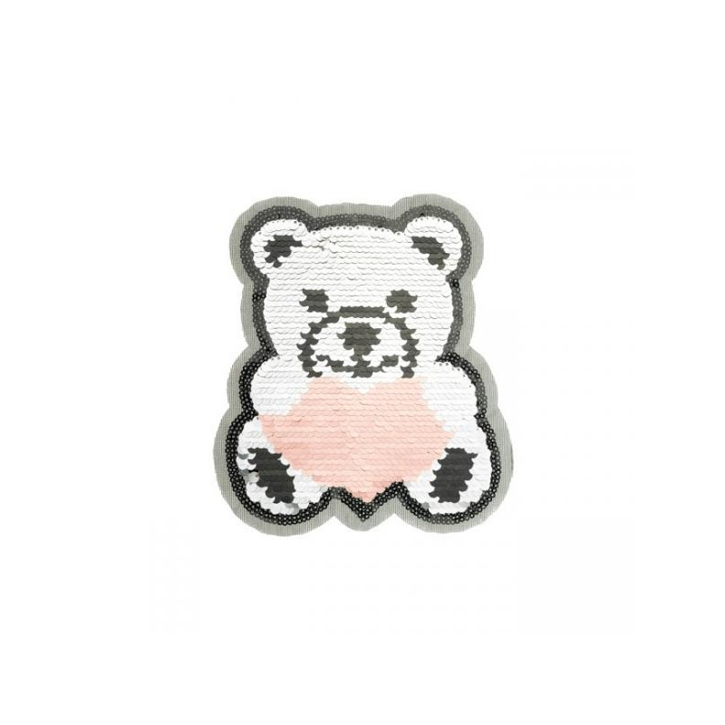 Reversible sequin patch sew on teddybear heart multicolored