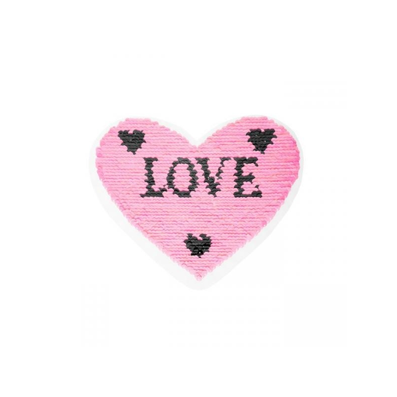Reversible sequin patch sew on heart love multicolored