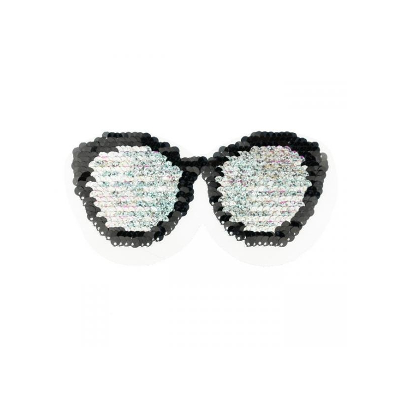 Reversible sequin patch sew on small sunglasses multicolored