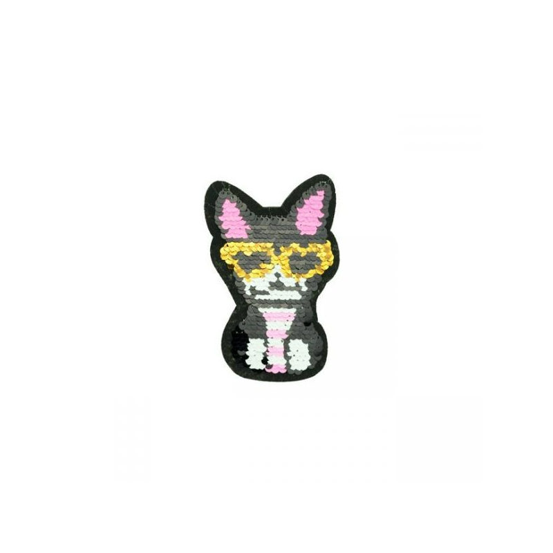 Reversible sequin patch sew on small cool cat multicolored