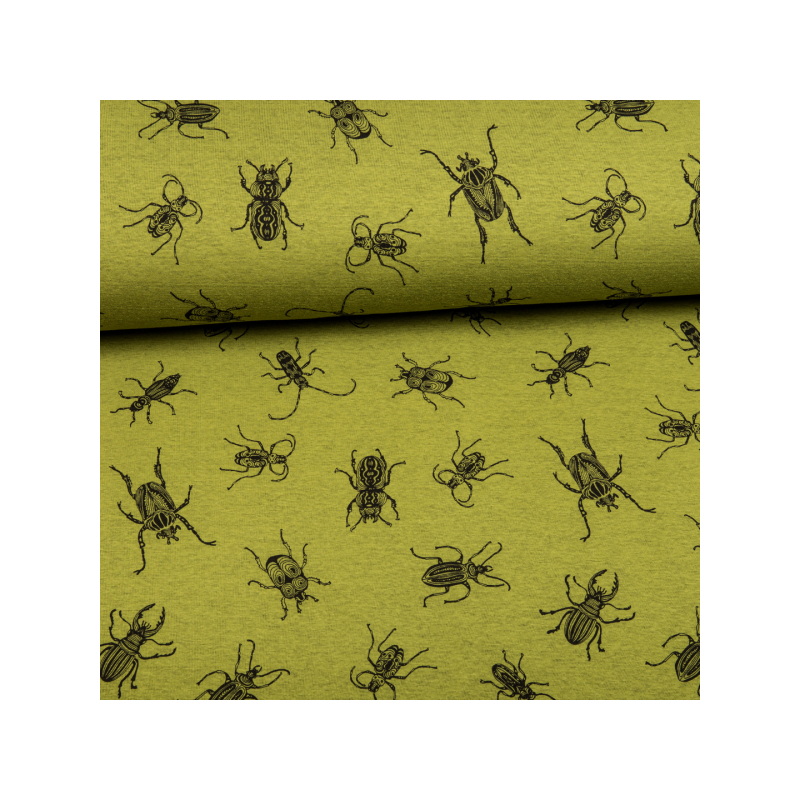 Cotton jogging fleece printed bugs green