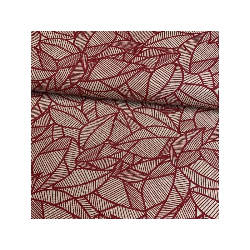 Cotton canvas printed jungle leaves dark red