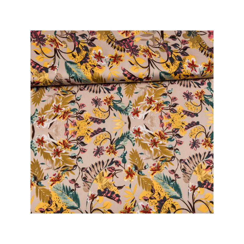 Micro satin printed yellow flowers multicolored