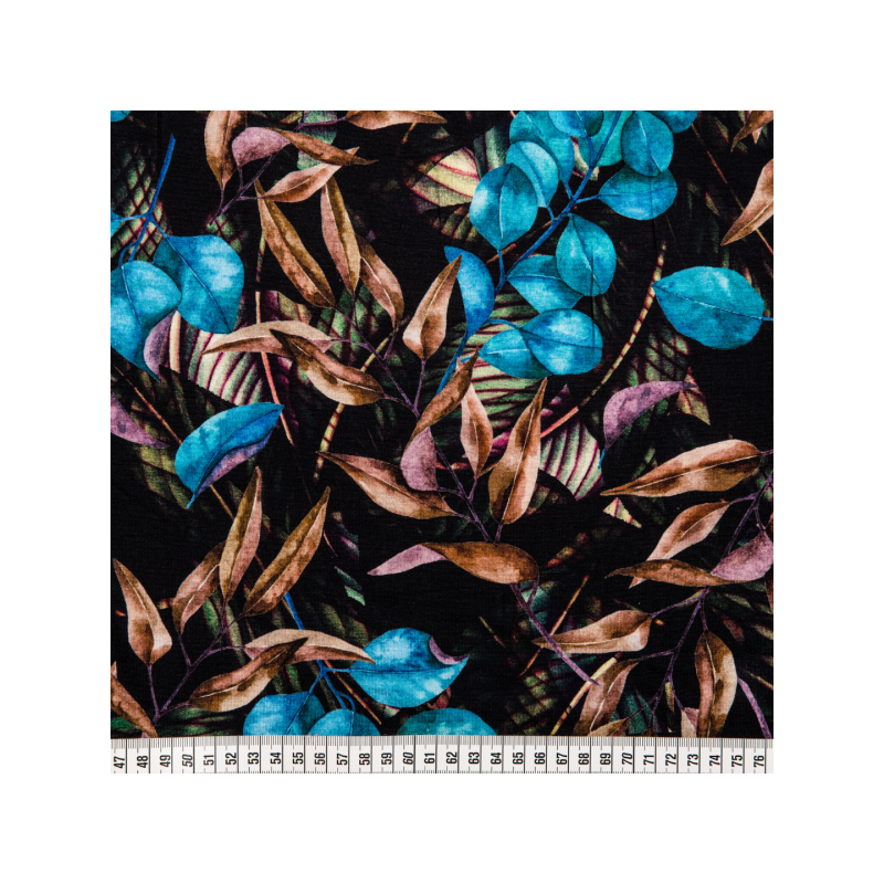 Viscose jersey digital printed bright blue leaves multicolored