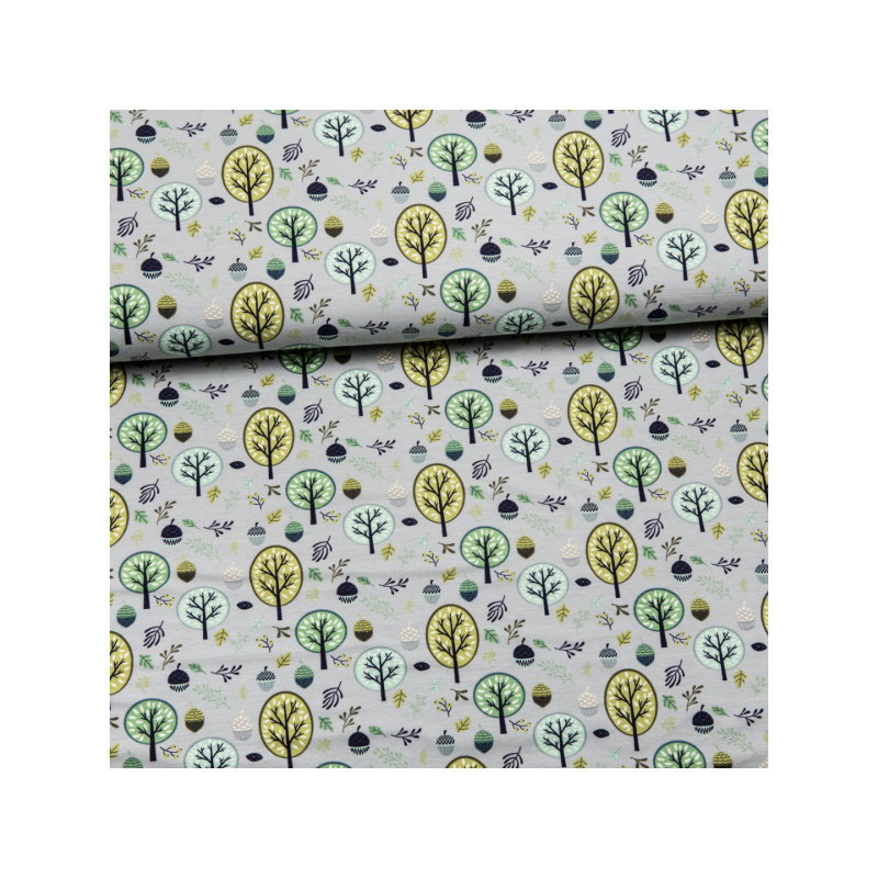 Cotton jersey printed trees green
