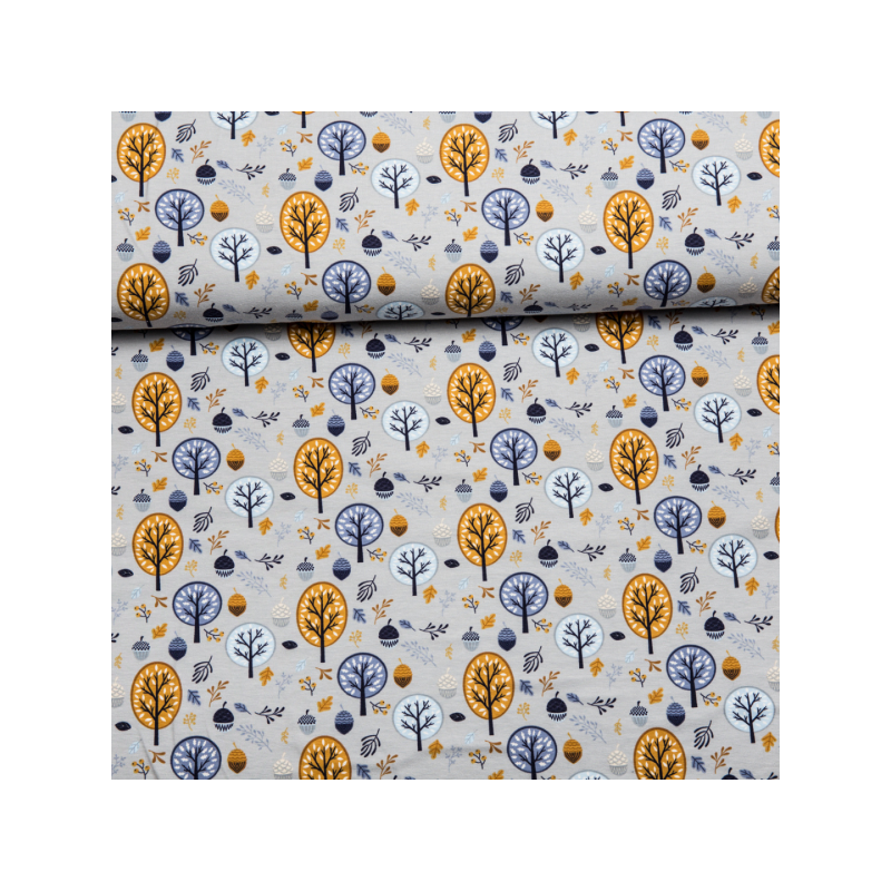 Coton jersey printed trees yellow/blue