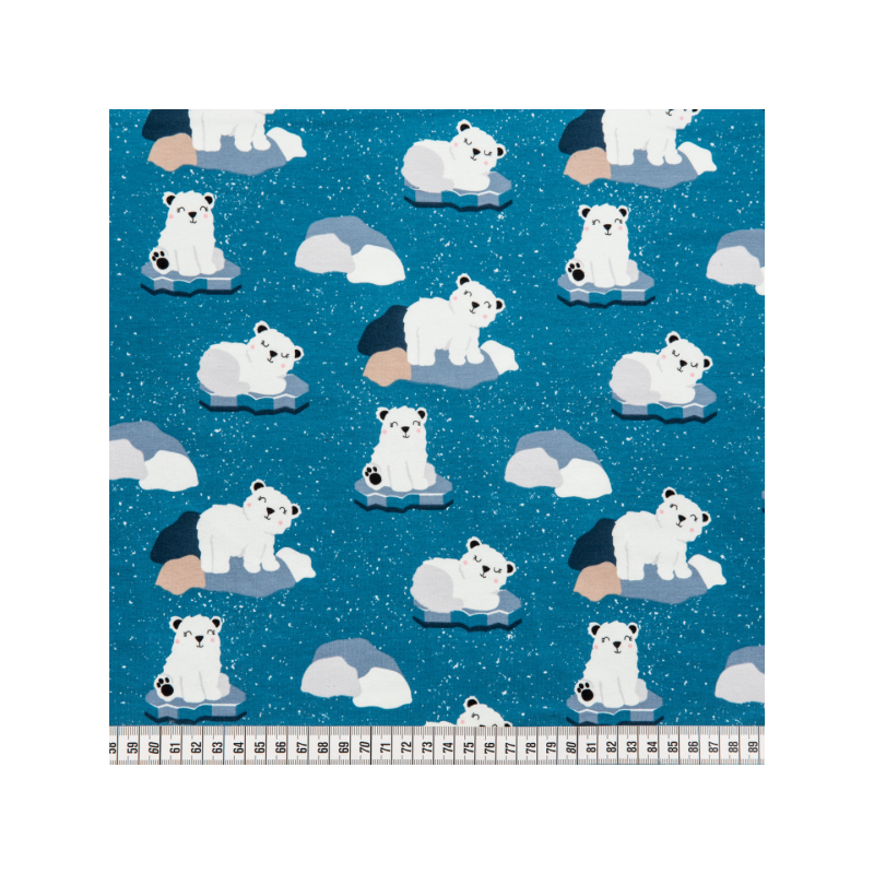Cotton jersey printed polar bears blue