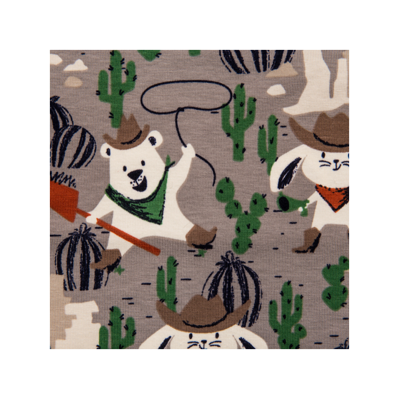 Cotton jersey printed cowboy animals grey