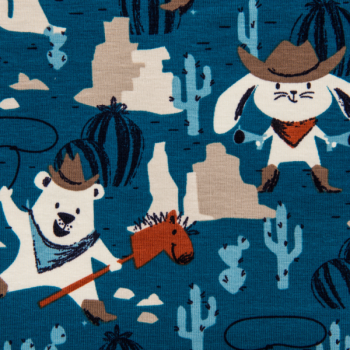 Cotton jersey printed cowboy animals blue